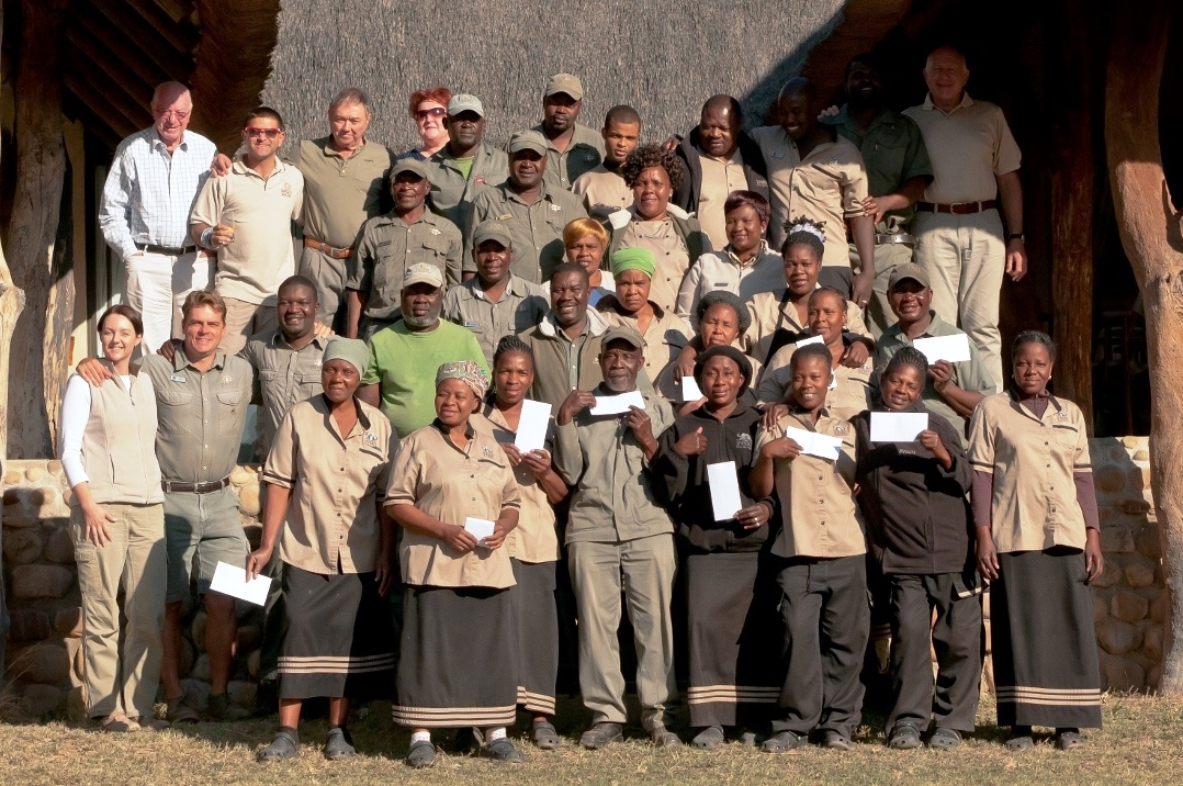Inyati staff receive their annual dividend from the Inyati sharescheme.