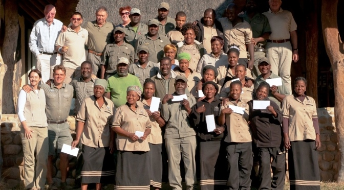 Inyati staff receive their annual dividend from the Inyati share scheme.