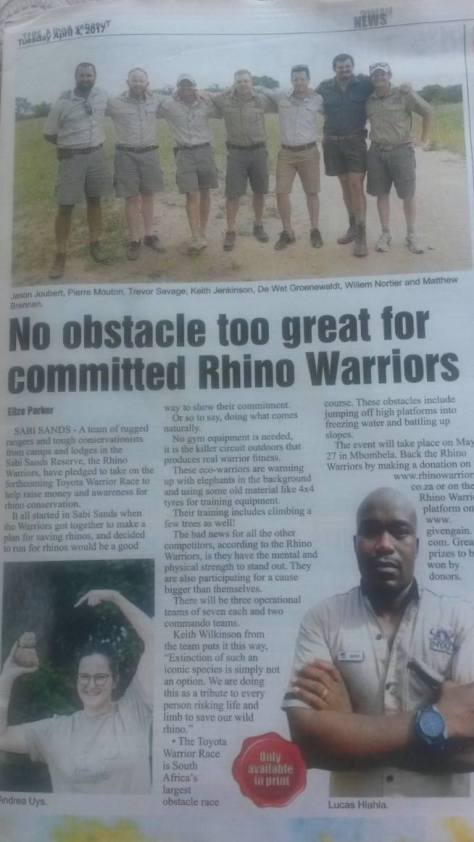 Rhino Warriors in raising funds for rhino conservation in the Sabi Sand reserve